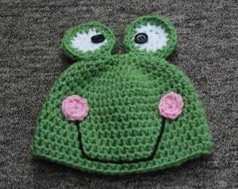 Frog Hat, Crochet Baby Photo Prop, Animal Hat, Whimsey Frog Hat ,crochet Frog Hat ,Fun Hat, Custom Hat all Sizes, Adult frog hat, baby hats