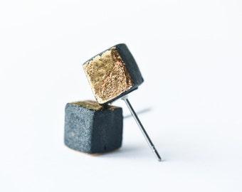 Mens earrings, cube earrings, moderns minimalist earrings, gold square earrings, rustic earrings, dainty gold stud earrings minimalist SE014