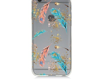 iPhone 7 Clear Case - Colorful Feathers - Protective TPU cover for iPhone 7 - 7 plus - iPhone 6s -  6s plus - Samsung Galaxy s5 s6 s7 Note 7