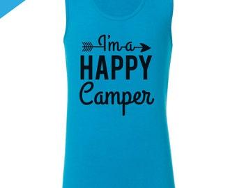 Camping Gift for Girls, Happy Camper Shirt, Girls Camp Tank Top, Camp Shirts