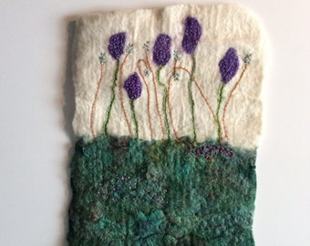 Spring hand felted picture made of merino wool and silk