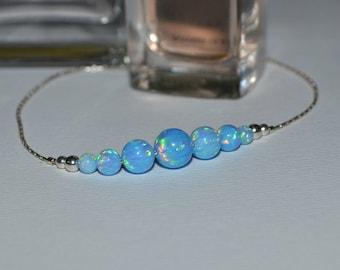 OPAL BRACELET // Opal Ball Bracelet - Opal Jewelry - Blue Opal Bracelet Silver - Dot Bracelet - Opal Bead Bracelet - Opal Charm Bracelet