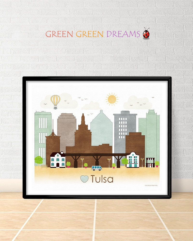Tulsa poster print wall art printable tulsa by for Home decor tulsa