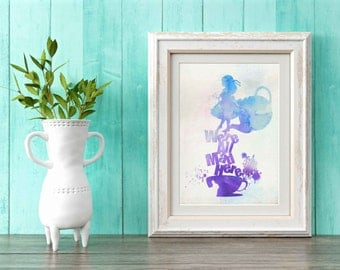 Alice We're all mad here watercolor ,Printable Art, Inspirational Quote, Digital Prints,Wall Art Prints, Digital Download