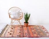 """Vintage Moroccan Berber Rug, """"The Alaia,"""" Boujad Rug, Pink Rug, Red Rug, Faded Rug, Colorful Rug, Bohemian Decor, Boho Rug, Turkish Rug"""