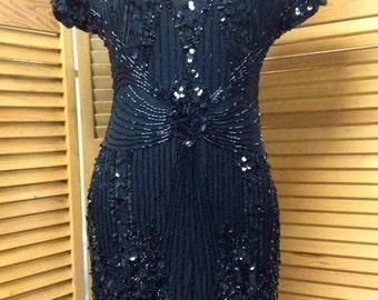 VINTAGE:  80's  Black  Beaded  100% Silk/  Designer Lillie Rubin Dress/sz S.