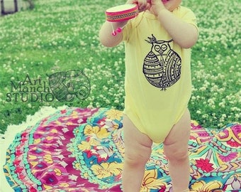 Buddha owl bodysuit, Yellow jumpsuit, Gender neutral baby outfit, Bohemian baby outfit, Hipster baby outfit, Yoga baby clothes, Baby shower