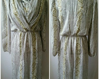 Just In Tyme LTD Grey/silver/Gold/White Vintage Maxi Dress