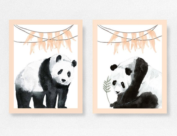 Panda Bear Print Nursery Prints Peach Nursery Decor Home