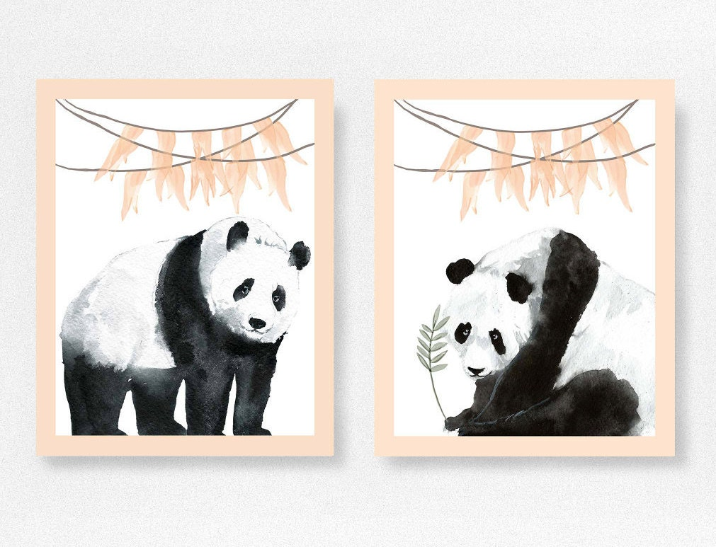Panda bear print nursery prints peach nursery decor home for Panda bear decor
