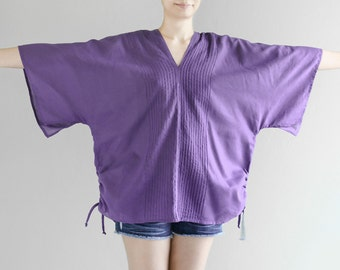 SALE 20% off, Oversized Kimono Loose Fitting Cotton Summer Tunic Beach Top, V Neck Pintuck Wide Sleeve Top, Purple