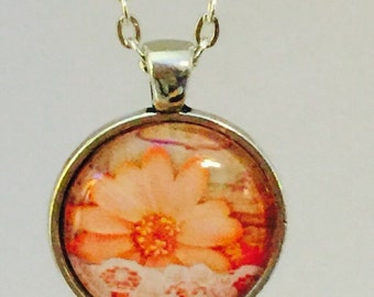 Flower : Glass Dome Necklace, Pendant or Keychain Key Ring. Gift Present metal round art photo jewelry by Bohemian Marvels