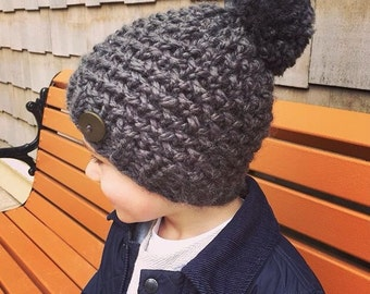 Chunky Textured Toddler Kids Adult Hat with Button and Pom Pom