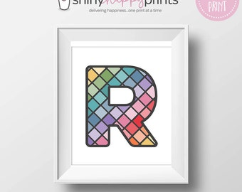 "Letter R Family Monogram Wall Art, ""R"" Initial Nursery Print, Instant Download Child Kid Teen Bedroom Art or Gift, Shiny Happy Prints"