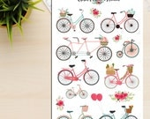 Vintage Bicycles and Flowers Planner Stickers (S-056)