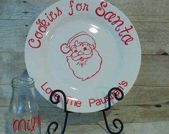 Santa cookie plate with milk glass, santa plate, personalized, cookies for santa