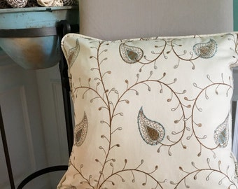 "20"" embroidered pillow"