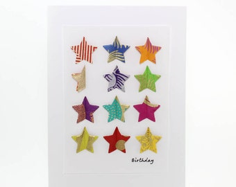"""Handmade Greeting Card - """"Birthday"""" Pop-up Stars from Fine Art Papers"""