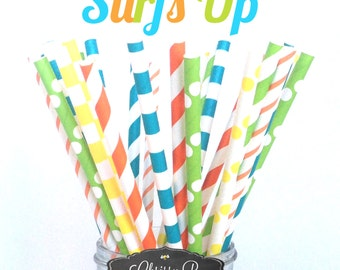 Aqua Blue, Green, Orange Paper Straws (SURFS UP Theme) Pack of 25 Straws  - Lime, Orange, Aqua, Yellow - Surfer Birthday Party, Baby Shower