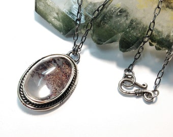 Lodolite Sterling Silver Necklace, Garden quartz necklace