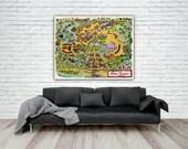 1971 Walt Disney World Magic Kingdom Map Print, Disney Poster, Reproduction Map Print, Fantasyland, Disney Princess Decor