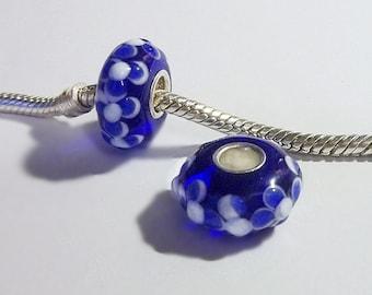 Cobalt Blue, Sterling Silver Core,Lampwork/Murano Style, Large Hole Raised Flower Charm Bead, Fits European Charm Bracelets  Y80