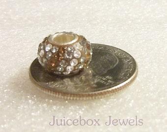 Tri-Color, SWAROVSKI Crystal Pave,925 Sterling Silver Core, Large Hole Charm Bead, Fits European Charm Bracelets  Y102