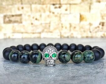 White Gold Plated Skull Bracelet, Mens Skull Bracelet, Man Bracelet, Bracelet For Men, Jasper Bracelet, Gemstone Bracelet, Man Skull