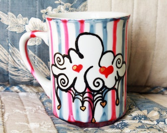 Black dripping cloud hand painted mug