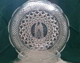 Pressed Glass Divided Serving Dish