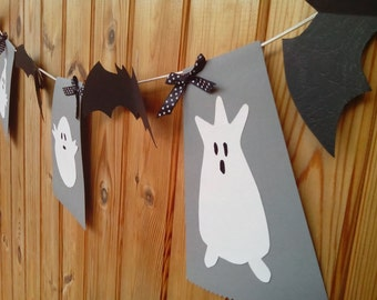 Halloween banner bat and ghost decor garland house decoration birthday party ideas