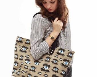Shoulder bag tote carry all, screen-printed eyes