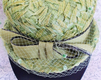 Vintage Ladies Hat, Union Made, Straw and Net Bowler, Grosgrain Ribbon, Light Chartreuse