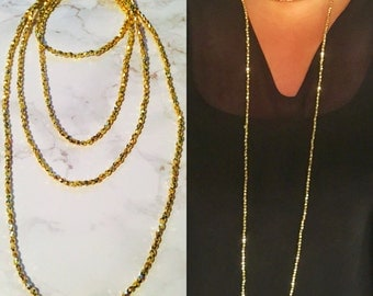 Gold Beaded Long Necklace