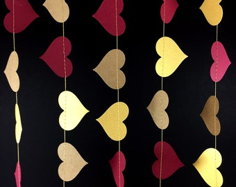 Maroon and Gold Heart Garland with Kraft Hearts: Gold and Maroon Garland, Kraft Paper Garland, Red & Gold Decor Decoration, GH067MtgdDkftMrn