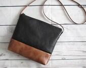 Black and tan crossbody bag, vegan leather, slouchy cross body messenger bag, shoulder bag, faux leather bag, real leather