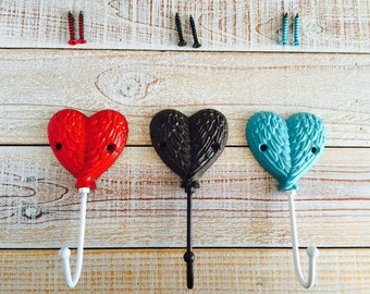 Heart Wall Hook, Iron Wall Decor, Wedding Favor for Guests, His & Her Robe Hooks, Towel Hooks, Anthropology. Wall Home Decor