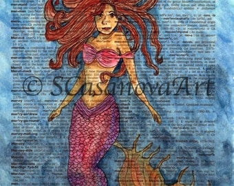 Mermaid in the Sea on Dictionary Paper - Art Print