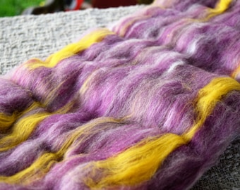 Iris - BIG carded wool batt for spinning and felting - 4 oz