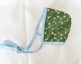 SALE Ready to Ship Reversible Baby Bonnet 0-3 months