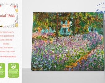 Iris Bed in Monet's Garden canvas print inspired by Claude Monet reproduction fine art gallery print Artwork Giclee decor wall art famous