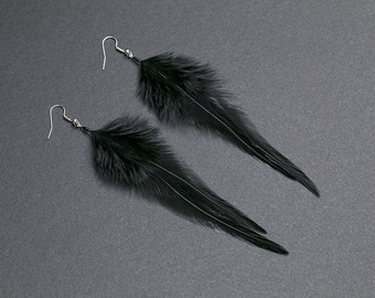 Gothic Earrings: black feathers Feather earring Goth earrings Punk earrings Gothic jewelery Rocker earrings Black earrings Simple jewelry