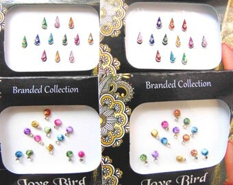 50 bindis - 4 bindi packs designer bollywood bindis / belly dance bindis / bindi stckers, body art tattoos