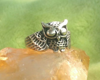 Vintage Detailed Silver Owl Ring / Animal Jewelry