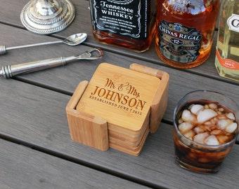 Personalized Coasters, Custom Coasters, Engraved Coasters, Custom Wedding Gift, Bamboo Square 6 Coaster Set with Holder --cst-sbam-johnson