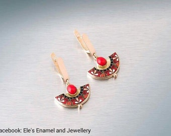 Cloisonne Enamel Gold Earrings