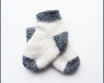 Newborn socks - Kids socks - Toddler wool socks - Knitted socks - Girls socks - Boys socks - Baby gift - Thin - Spring Winter - White Gray