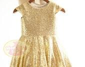 Cap Sleeves Gold Sequin Flower Girl Dress Junior Bridesmaid Wedding Party DressF0046