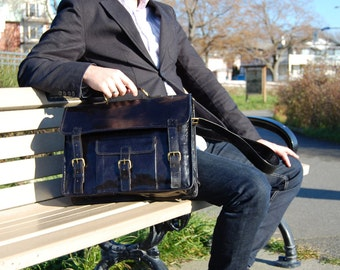 Black Leather Satchel / Mens Leather Laptop Bag / Black Leather Briefcase / Vintage Briefcase / Leather Rustic Briefcase / Mens Briefcase