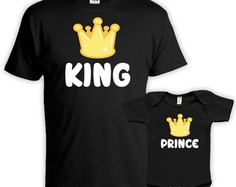 Father Son Matching Shirts Father And Baby Gift For Dad T Shirt Daddy And Son Outfits Family Shirts King And Prince Bodysuit MAT-712-714